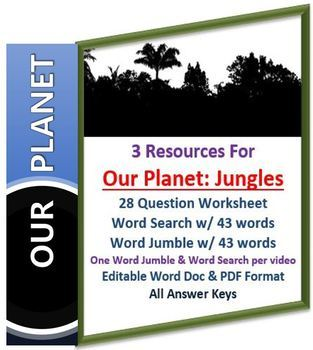image regarding Jumble Puzzles Printable referred to as Our Environment: Jungles Netflix Video clip Queries, Worksheet, Term