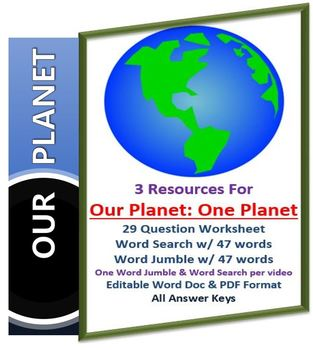 Our Planet: One Planet Netflix Video Questions, Worksheet, Word Search &  Jumble