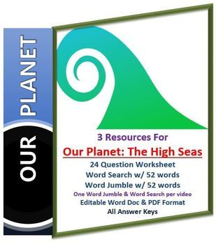 Our Planet: The High Seas Netflix Video Questions, Worksheet Word Search & Jumbo