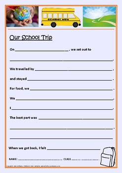 Our School Trip - Report Sheet