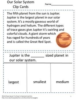 Our Solar System Clip Tasks Cards