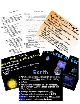Our Solar System Cloze Notes and PowerPoints
