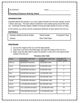 Planet Distance Activity/ Web Quest/ Crossword