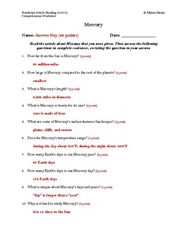 Our Solar System Nonfiction Articles Comprehension Packet