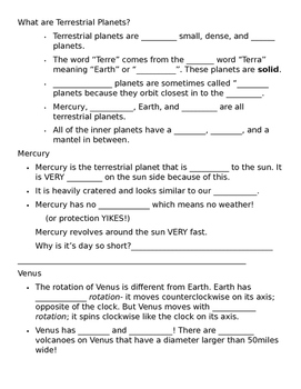 Our Solar System Note Taking Sheet