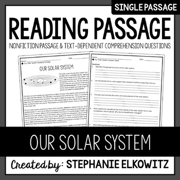 Our Solar System Reading Passage