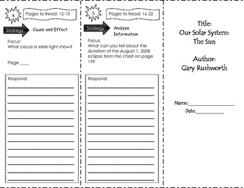 Our Solar System The Sun Unit 1 Trifold Benchmark Literacy Grade 3