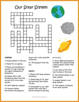 our solar system crossword puzzle by puzzles to print tpt. Black Bedroom Furniture Sets. Home Design Ideas