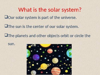 Our Solar System for grades 1 - 3