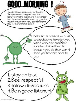 Sub plans: Our Teacher was Abducted by Aliens! Emergency Plans and Activities
