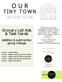 Our Tiny Town - Grocery Store Ads and Task Cards