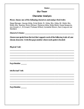 Our Town - Character Analysis Activity - Thornton Wilder