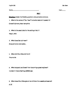 Our Town Reading Questions with Answer Key