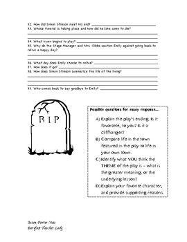 Our Town Study Guide WITH BONUS WORKSHEET