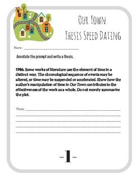 Our Town (Wilder) AP Literature and Composition Thesis Speed Dating
