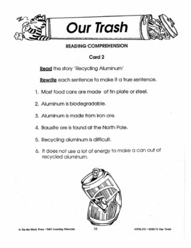 Our Trash 7 Reading Comprehension Activities with Follow-Ups!