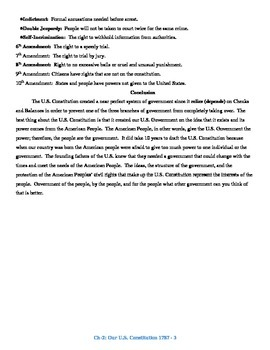 U.S. History STAAR Reader Ch-2: Our U.S. Constitution & Bill of Rights