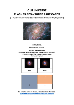 Our Universe - Three part cards - Montessori inspired