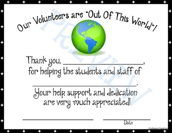 "Our Volunteers Are ""Out Of This World""! Certificate"