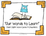 Our Words to Learn: Owl-Themed Sight Word Wall Cards & Checklists (editable)