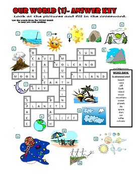 Our World (1) Crossword Puzzle with Pictures (Nature / Environment / Places)