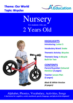 Our World - Bicycles : Letter S : Snake - Nursery (2 years old)