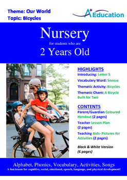 Our World - Bicycles : Letter S : Sneeze - Nursery (2 years old)