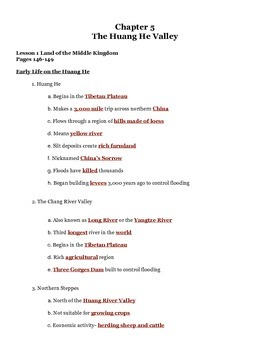 Our World Chapter 5 Lesson 1 Huang He Notes