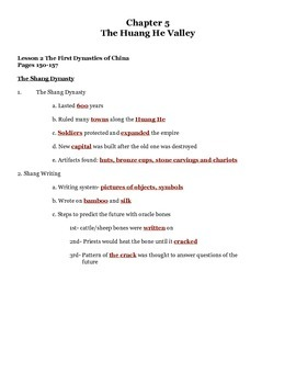 Our World Chapter 5 Lesson 2 China's First Dynasties Notes
