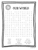 Our World (Continents and Oceans) Word Search