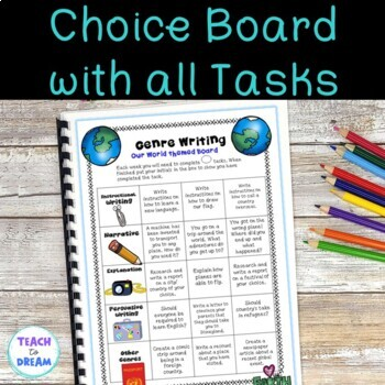 Our World Genre Choice Board with Worksheet Templates and Assessments