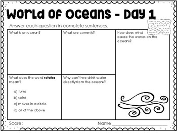Our World is Oceans - Weekly Reading Passage and Questions