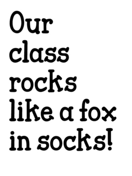Our class rocks with fox in socks door display