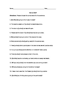 Our or Are?  Worksheet