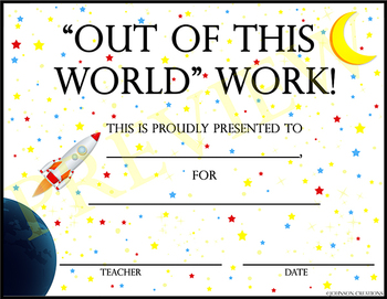 """""""Out Of This World"""" Work! Certificate"""