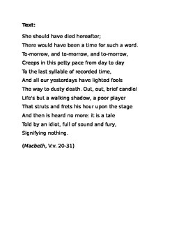 Out, Out--A Close Reading of Macbeth by William Shakespeare