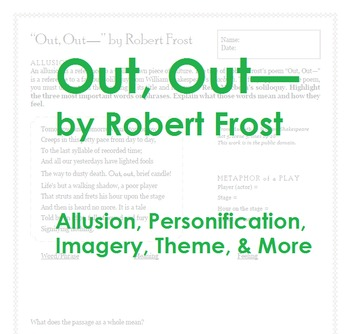 """Out, Out—"" by Robert Frost; poetry, allusion, personification, imagery, theme"