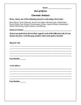 Out of Africa - Character Analysis Activity - Isak Dinesen