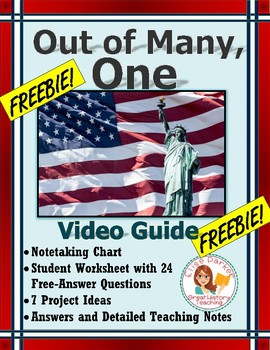 FREE: Out of Many, One Worksheets and Video Guide
