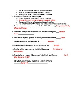 Out of Many a History of American People Reading Quiz APUSH Chapter 7