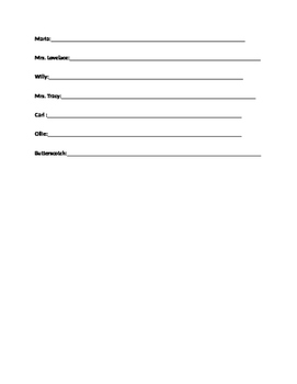 Out of My Mind Character Graphic Organizer