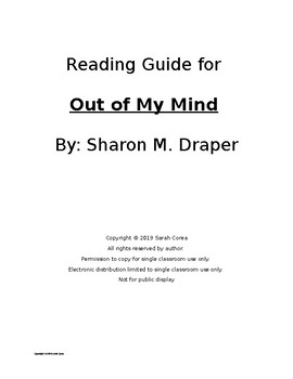 Out of My Mind - Complete Reading Guide with Vocabulary