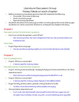 Out of My Mind Novel Study Teacher Key