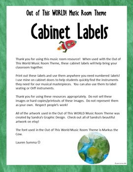 Out of This WORLD! Music Room Theme - Cabinet Labels, Rhythm and Glues