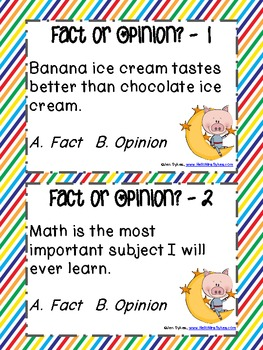 Out of This World Fact and Opinion Posters Task Cards and Game