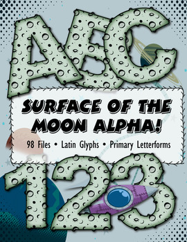 """Out of This World Moon Alphabet! 3.5"""" 300 DPI  Vector PDF and PNG"""