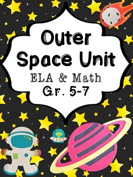 Out of This World Outer Space Writing and Math Worksheet Packet for Grades 4 -6