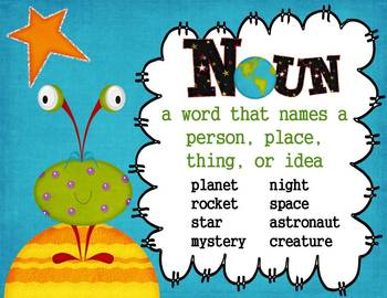 Parts of Speech Anchor Charts: Out of This World