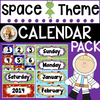 Out of This World Space Calendar Pack (numbers, days, months, years)