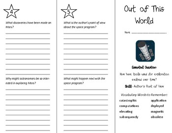 Out of This World Trifold - Wonders 6th Grade Unit 5 Week 5